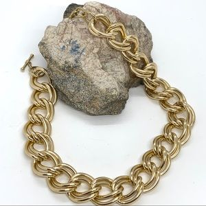 Chunky Double Goldtone Chain Necklace Toggle Close
